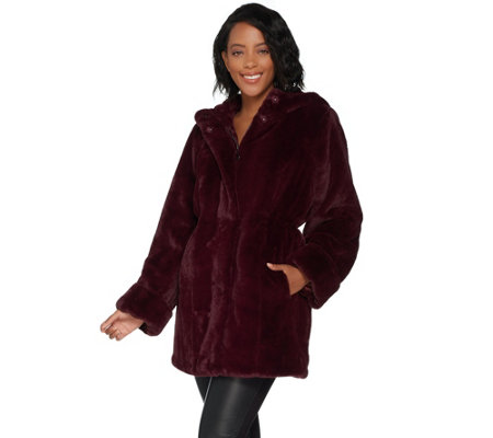 """As Is"" Dennis Basso Zip Front Faux Fur Coat with Hood and Waist Detail"