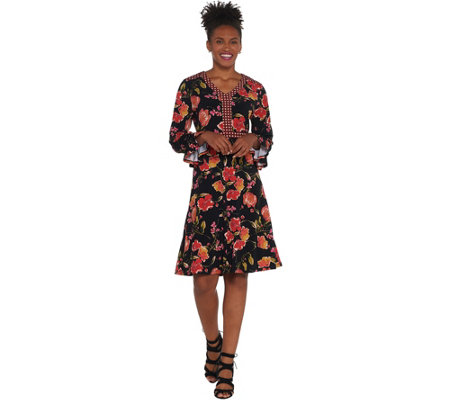 Susan Graver Printed Liquid Knit V-Neck Dress