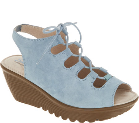 """As Is"" Skechers Suede Lace-Up Peep- Toe Wedges"