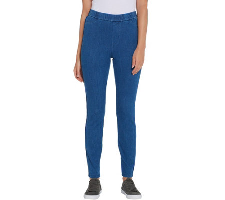 Isaac Mizrahi Live! Petite Knit Denim with Tuxedo Stripe Detail