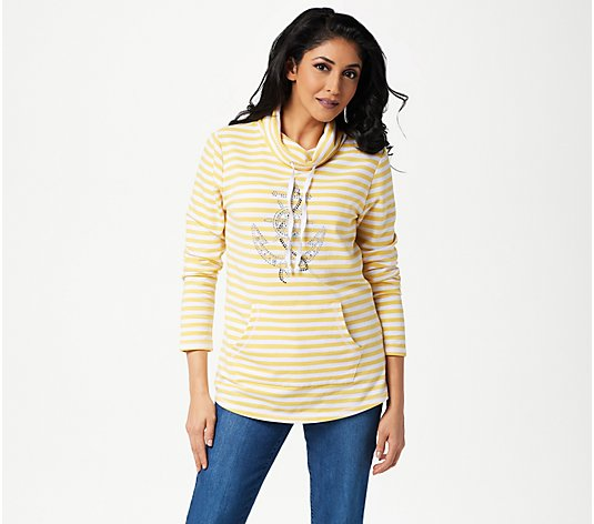 Quacker Factory Rhinestone Anchor Striped Knit Pullover