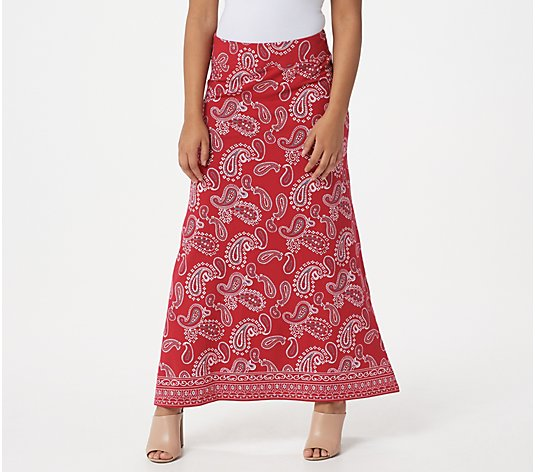 Belle by Kim Gravel TripleLuxe Knit Paisley Maxi Skirt