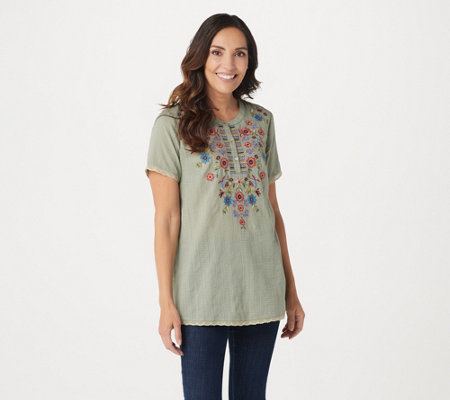 LOGO Lavish by Lori Goldstein Woven Top with Lace and Embroidery