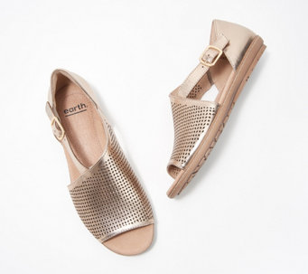 Earth Leather Perforated Sandals - Camella Ballston - A352120