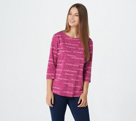 Denim & Co. Printed Perfect Jersey Round-Neck 3/4-Sleeve Top