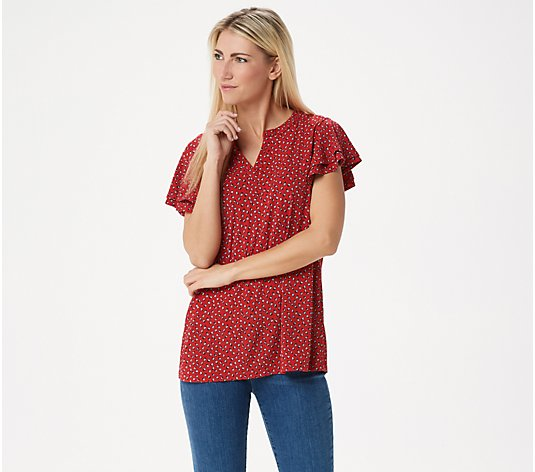 """As Is"" Susan Graver Printed Liquid Knit Top with Ruffle"