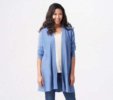 Susan Graver Rayon Nylon Sweater Cardigan with Cable Detail
