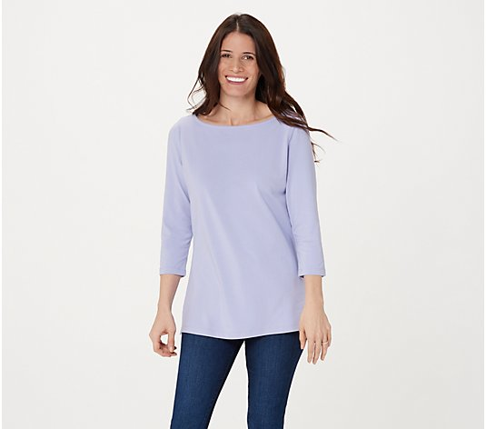 Isaac Mizrahi Live! 3/4-Sleeve Knit Top with Cross Back Detail