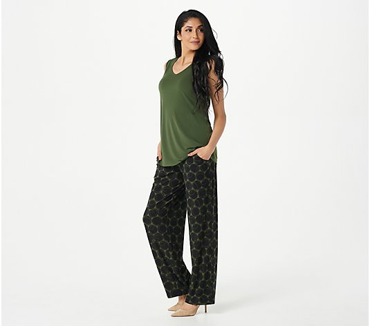Susan Graver Reg Liquid Knit Tunic Tank & Printed Wide Leg Pants Set