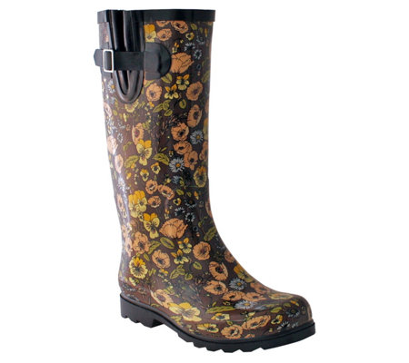 Nomad Retro Floral Pull-On Rain Boots - Puddles