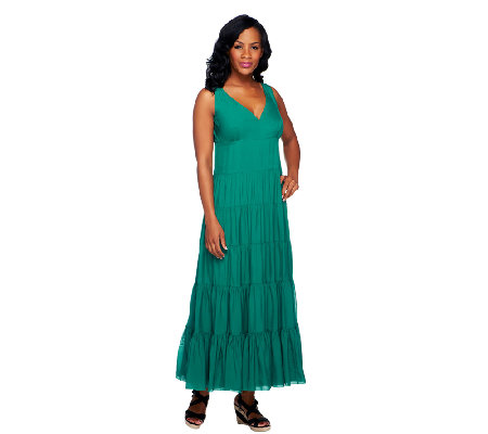 G.I.L.I. Regular V-Neck Tiered Silk Maxi Dress