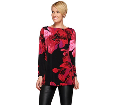 Susan Graver Artisan Printed Liquid Knit Tunic with Embellishment