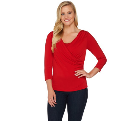 Shape FX 3/4 Sleeve V-Neck Bodysuit with Ruching Detail