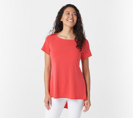Susan Graver Liquid Knit Short Sleeve Top with Peplum Back