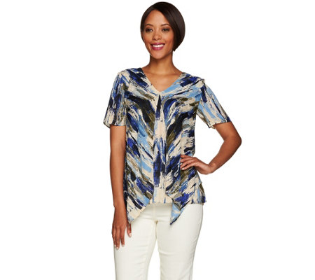 H by Halston Short Sleeve Double Layer Top