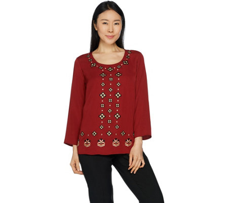 Bob Mackie Embroidered Woven Georgette Top