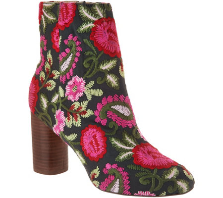 Sole Society Novelty Printed Heeled Ankle Boots - Mulholland