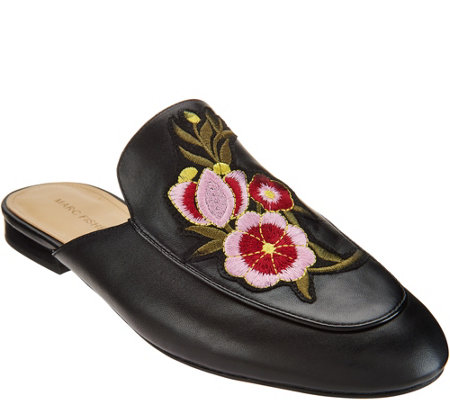 Marc Fisher Embroidered Leather Mules - Wrangler
