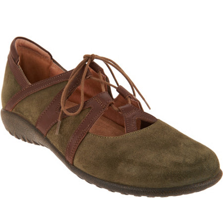 Naot Leather or Suede Lace-up Flats - Timu
