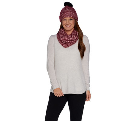 Isaac Mizrahi Live! SOHO Textured Infinity Scarf and Hat Set