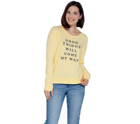 Peace Love World V Neck Comfy Knit Top With Affirmation