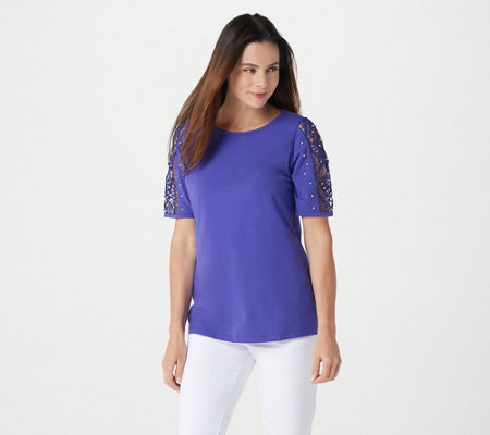 Quacker Factory Lace Sleeve Knit T-shirt with Faux Pearl Detail