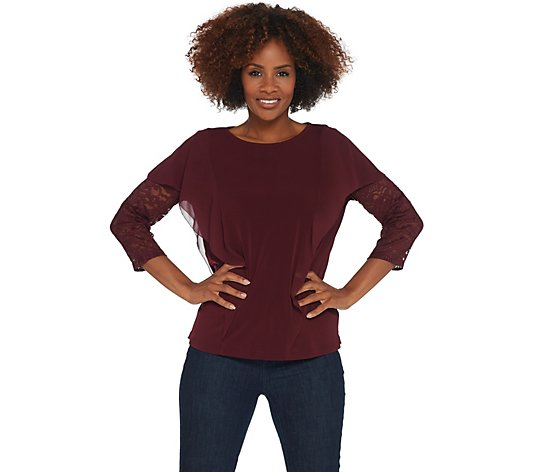 GRAVER Susan Graver Liquid Knit Top with Lace Sleeves