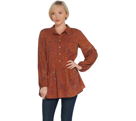 LOGO by Lori Goldstein Stretch Woven Button Front Blouse
