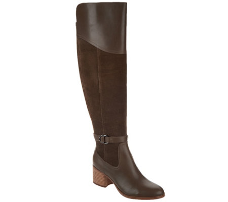"""As Is"" Marc Fisher Leather & Suede Over-the-Knee Boots - Eisa"