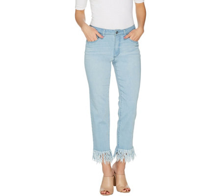 """As Is"" Women with Control Petite My Wonder Denim Fringe Jeans"