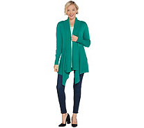 Isaac Mizrahi Live! Mixed Stitch Cascade Shawl Collar Cardigan - A344321