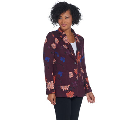 Kelly by Clinton Kelly Ponte Floral Printed Blazer