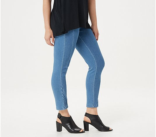 H by Halston Petite Knit Denim Slim-Leg Crop Pants with Pintuck Details