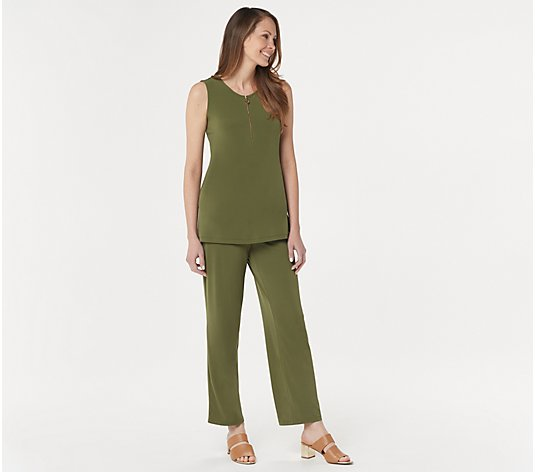 Susan Graver Petite Liquid Knit Zip-Front Top and Pants Set