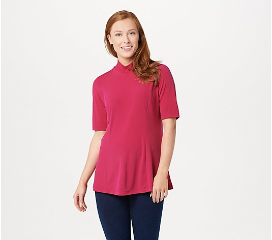 Every Day by Susan Graver Liquid Knit Elbow Sleeve Mock Neck Top