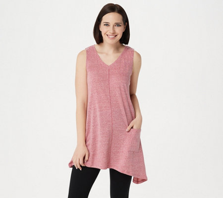 """As Is"" LOGO by Lori Goldstein Snow Yarn Knit V-Neck Tank w/ Asymmetric Hem"