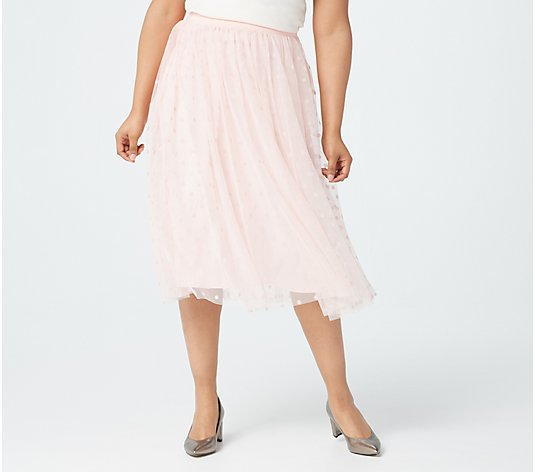 Isaac Mizrahi Live! Special Edition Flocked Dot Tulle Skirt