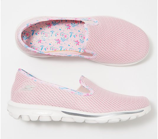 Skechers GOwalk Classic Floral Slip-On Shoes - Iris