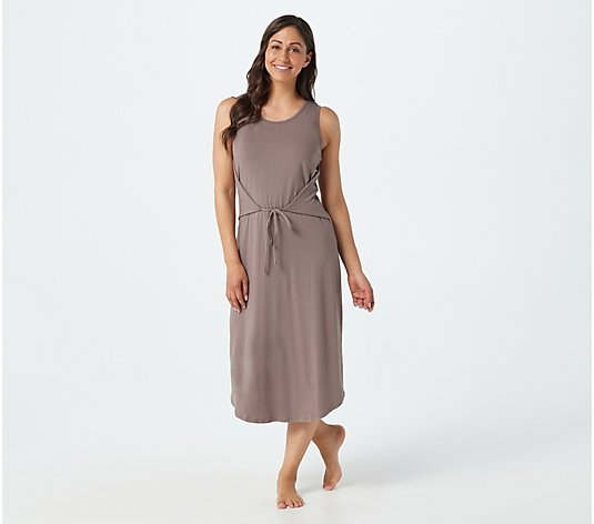 AnyBody Cozy Knit Sleeveless Wrap Front Midi Dress
