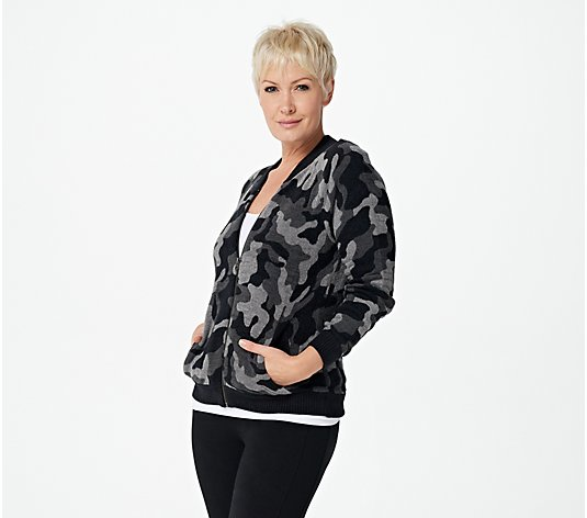 Barefoot Dreams CozyChic Ultra Lite Camo Zip-Up Bomber