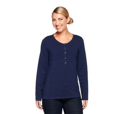 Denim & Co. Perfect Jersey Long Sleeve T-Shirt w/ Pleat Detail