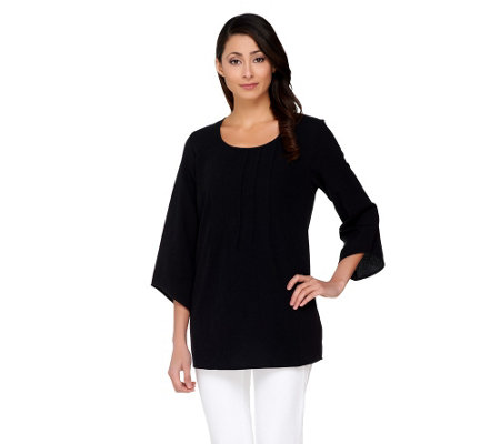 Susan Graver Weekend Cotton Gauze Top with Pintuck Detail