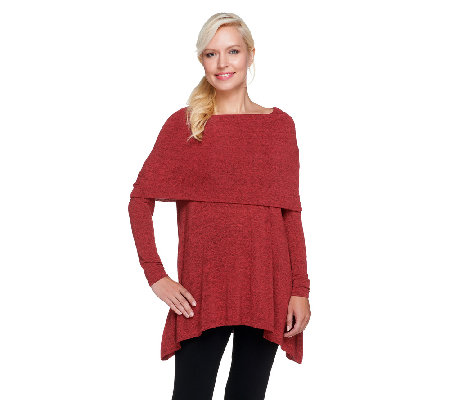 Lisa Rinna Collection Knit Tunic with Foldover Neck