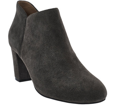 H by Halston Leather or Suede Ankle Boots with Heel - Anna