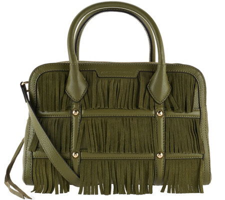 Aimee Kestenberg Leather and Suede Fringe Satchel - Reese
