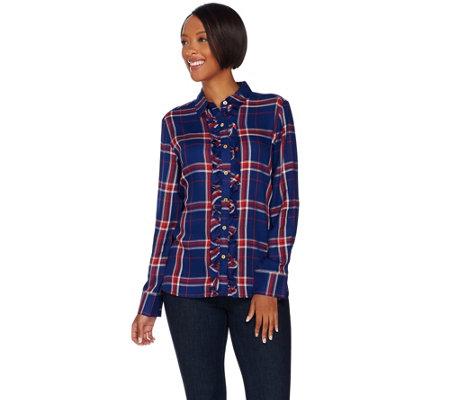 "C. Wonder Plaid Button Front ""Carrie"" Blouse with Ruffle Detail"
