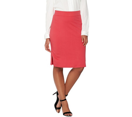 """As Is"" LOGO by Lori Goldstein Twill Knit Pull-On Skirt with Waistband"