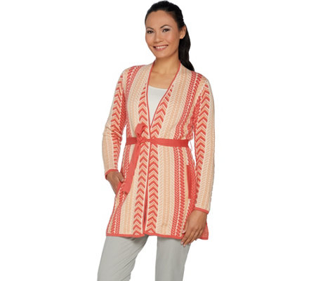 Isaac Mizrahi Live! Mixed Cable Pucker Jacquard Belted Cardigan