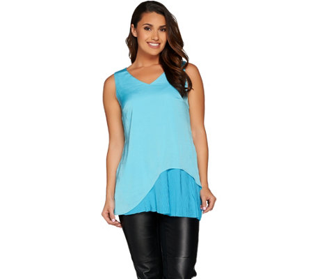 H by Halston Woven Sleeveless Tunic with Pleated Detail