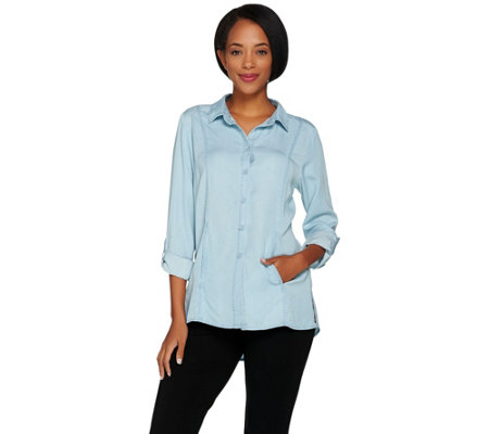 Kelly by Clinton Kelly Denim Shirt with Roll Tab Sleeves